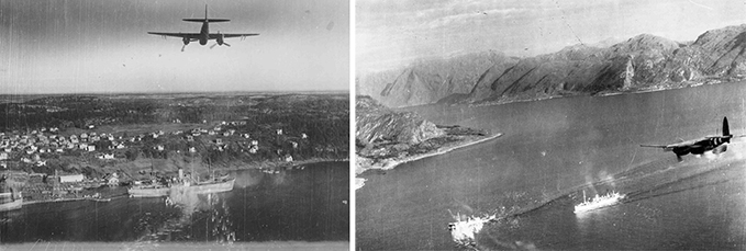 Mosquito attack with guns and rockets on coastal shipping and a Mosquito attack on shipping in a Norwegian fjord, 1944. Notice the D-Day invasion stripes.