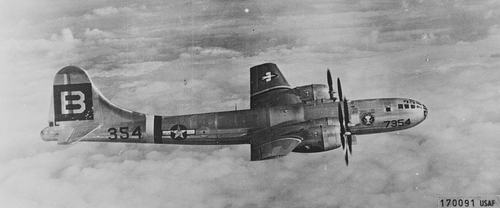 342-fh-b25701B-29 44-27354 'Big Stink', the aircraft in which Cheshire flew as an observerUS National Archives & Records Administration