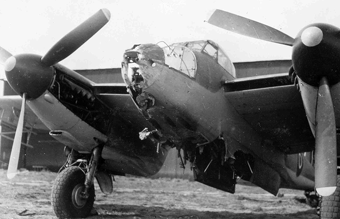 Mosquito FB VI damaged by striking the mast of a ship during an attack on it on 4 May 1945