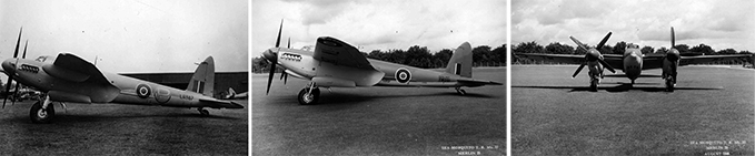 Sea Mosquito. Notice the arrester hook tucked under the rear of the aircraft,
