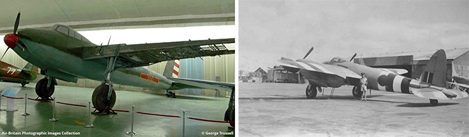 A Mosquito in a Chinese museum (it is a replica, but the damaged wing is original. Image kindly provided by George Trussell) and a Mosquito in Rhodesia. Notice the D-Day invasion stripes