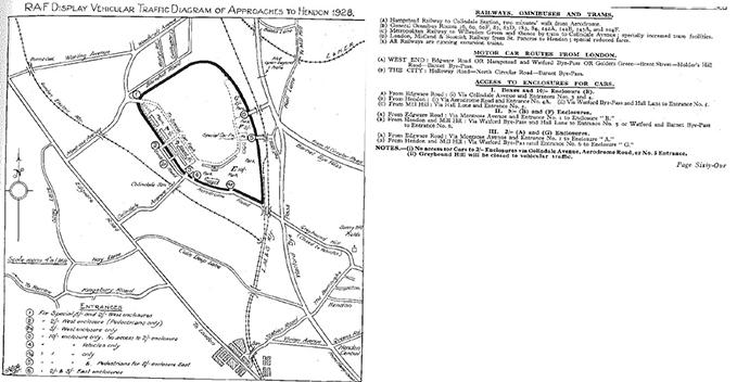RAF Display Hendon programme book explaining directions to motorists