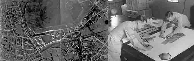 Vertical Reconnaissance photo of RAF Hendon in 1935 and a historic photograph of photographers composing mosaic, Habbaniya, in 1939
