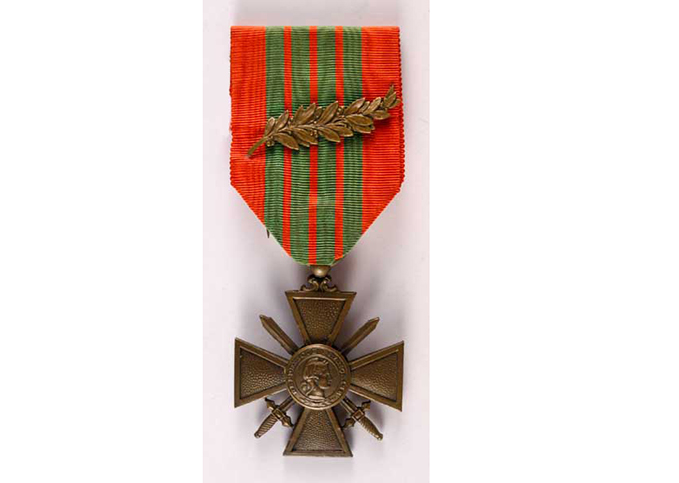 Croix de Guerre medal, a French military award for acts of heroism