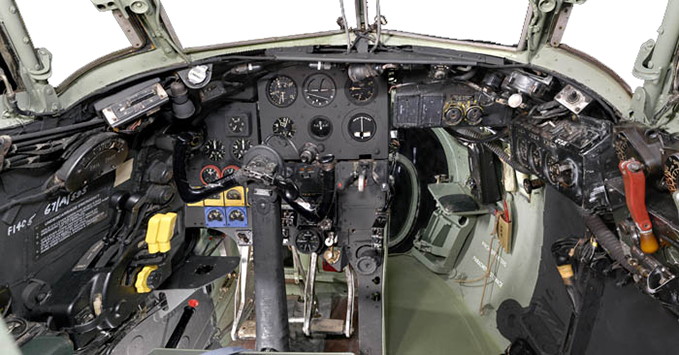 Inside the cockpit of the Mosquito, RAF Museum London.