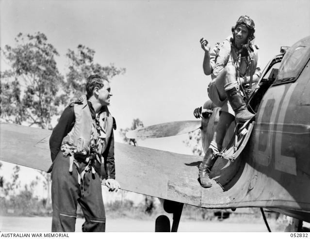 Posed photograph of pilots of No.54 Squadron RAF at Darwin, Australia (AWM 052832)
