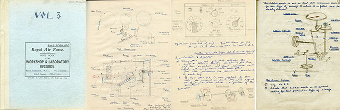 A handwritten 1956 Instrument Fitter's Course notebook by A.W. Robbins