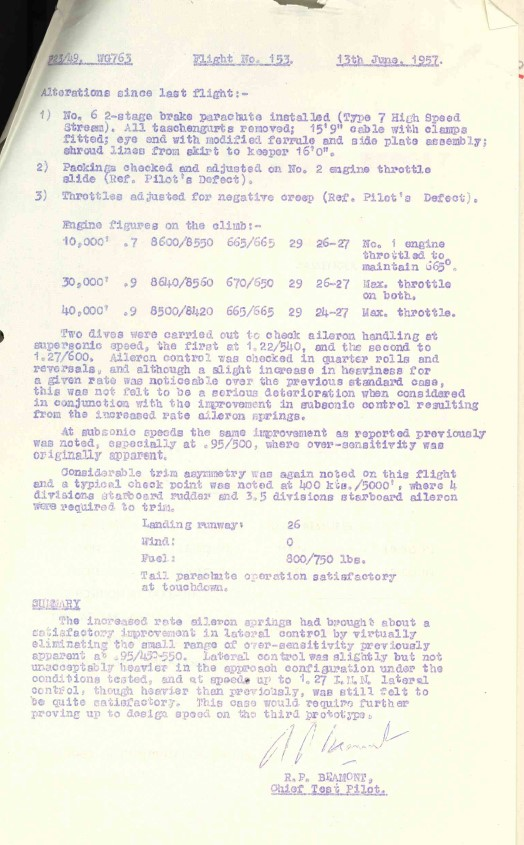 Experimental Flight Test report for English Electric P1A WG763 from the RAF Museum Archives