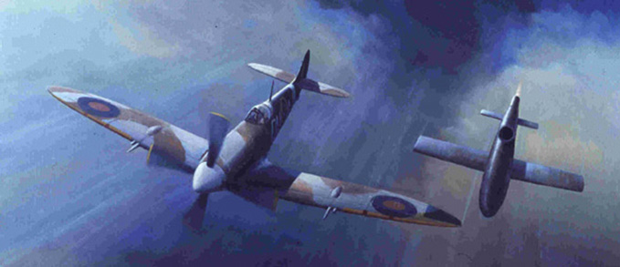 A painting from our Fine Art Collection, showing a V1 flying bomb about to be tipped over by a Spitfire