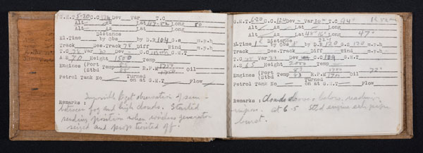 DC72-39-2 and 3: Example pages from Lt Brown's navigation logs