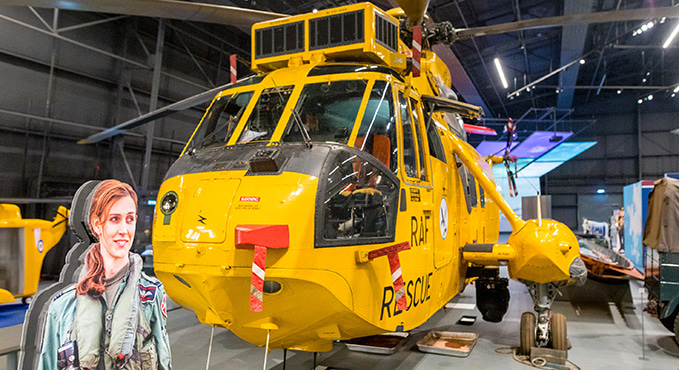 The Sea King helicopter in 'RAF Stories: The First 100 Years: 1918 - 2018' exhibition at the RAF Museum London