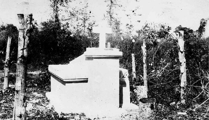 Memorial at Myaungmya, near Bassein Burma, to Flt Sgt L. Bellingan, Flt Sgt R.J. Snelling, Flt Sgt D. Woodage and Flt Sgt S.J. Woodbridge, n.d.