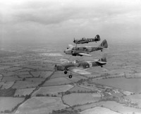 Miles Magister, Miles Master and Airspeed Oxford of Empire Central Flying School, in flight, Hullavington, 1940s