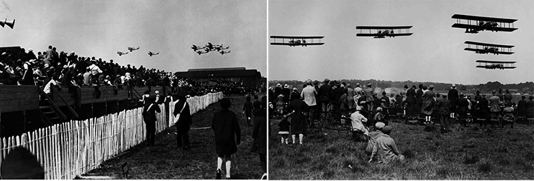 Fairey IIIF aircraft and Vickers Virginia bombers flying over the public a RAF Display Hendon, 1928