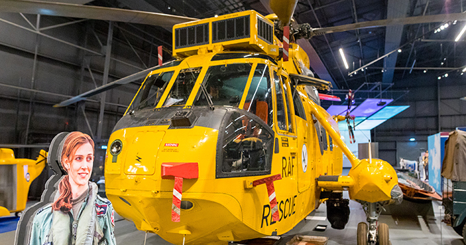 Our Sea King helicopter with the silhouette of Ayla Holdom on display in Hangar 1 at the RAF Museum London