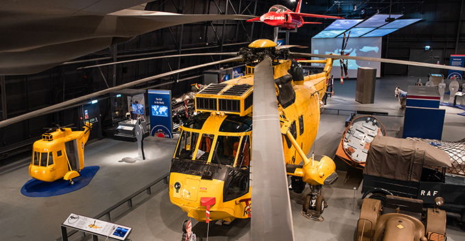 Our Sea King helicopter on display in Hangar 1 at the RAF Museum London
