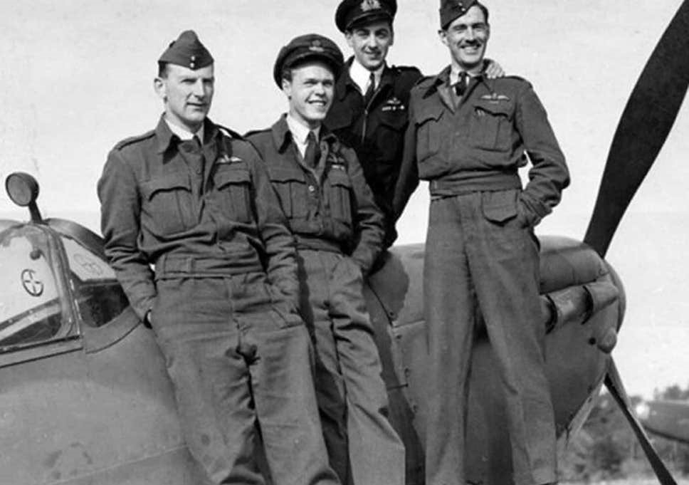 Eric Brown (at the rear in his Naval uniform) with other members (in RAF uniforms) of the RAE Aerodynamics Flight