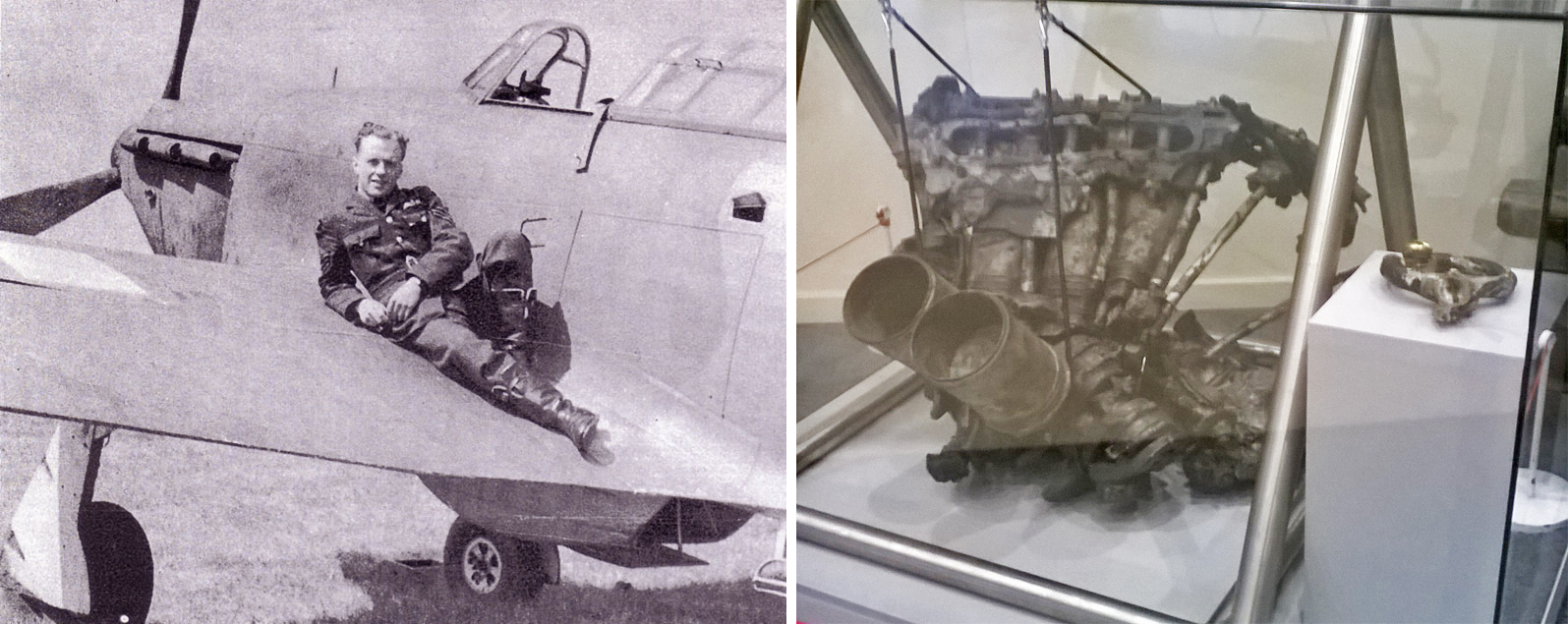 Ray Holmes with an aircraft and the burned Merlin engine and a control panel of Holmes' Hurricane at the RAF Museum London