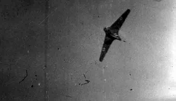 The tailless design of the Me 163 Komet can be seen clearly here on this gun camera photograph