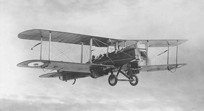 James 'Taffy' Jones in a de Havilland DH9A near Baghdad in 1923. There appear to be barrels under each wing, probably holding supplies