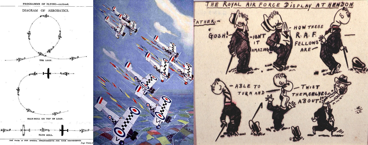 RAF Display Hendon 1928 programme book explaining the aerobatics; Siskin stunt squadron by Captain WE Johns, a 1930 painting and Six images of caricature with an inscription between each. Both from the Museum's Fine Art Collection