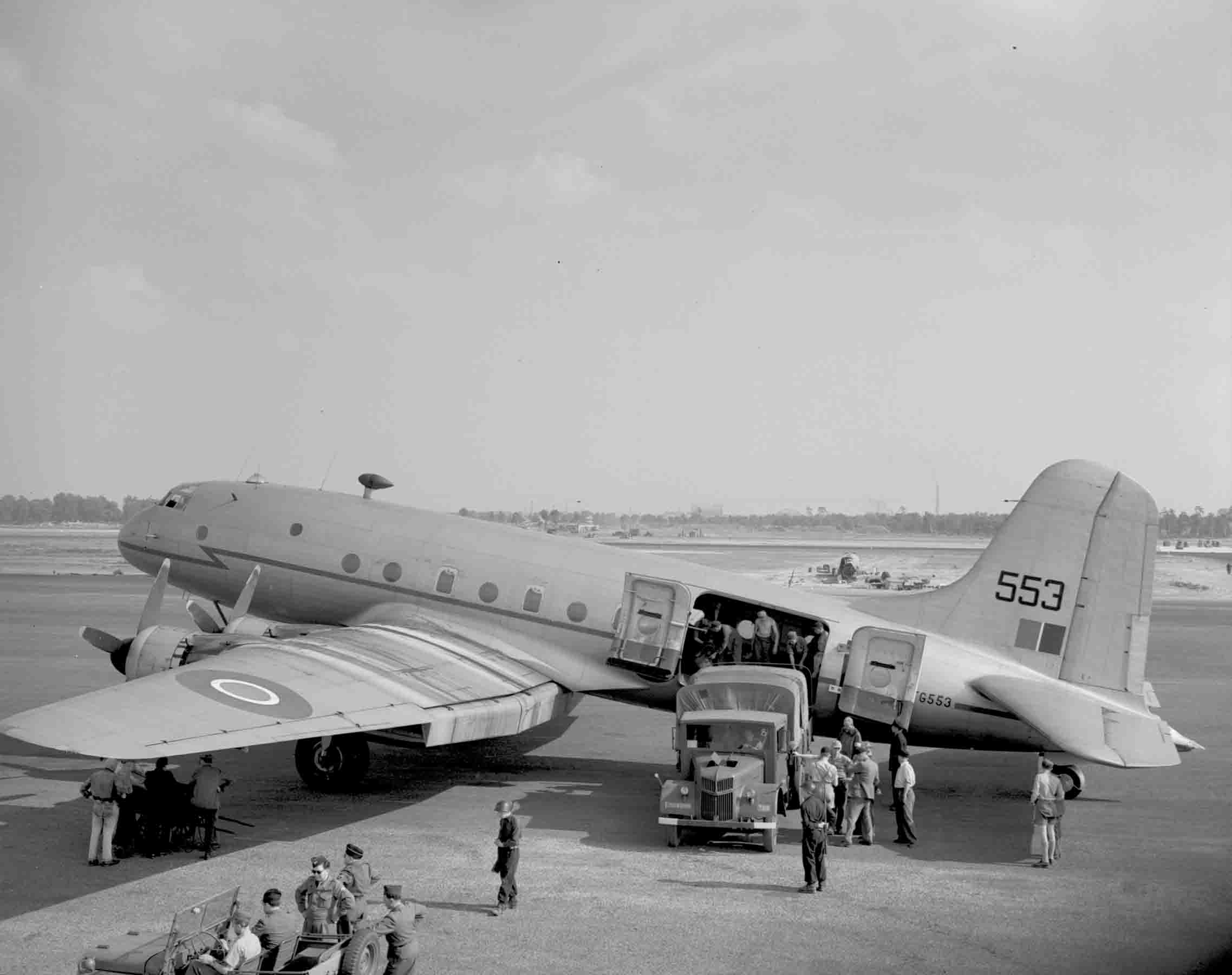 One of the aircraft being filled with supplies