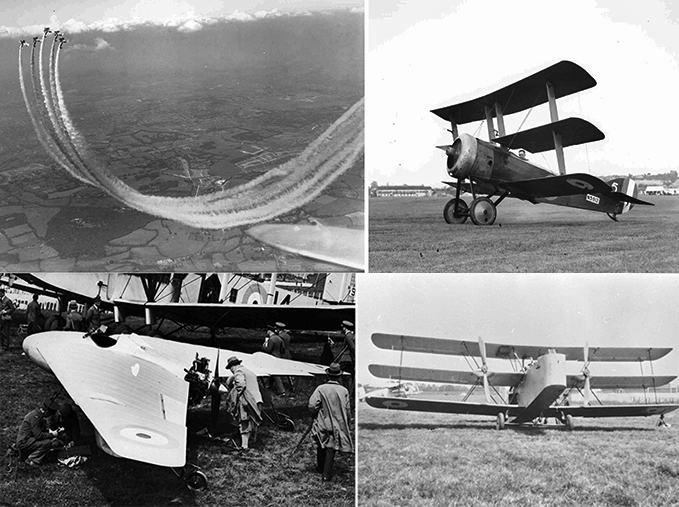 Bristol Bulldog fighters practising smoke aerobatics; Oltimers such as this Sopwith Triplane shown at the RAF Display Hendon in 1937, 20 years after it was in service; Westland Hill Pterodactyl RAF Display Hendon 1928; the experimental Parnall Possum at RAF Display Hendon 1924