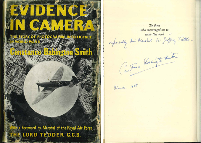 Front cover and the signed page of Constance Babington Smith's book Evidence in Camera, from the Museum's Library