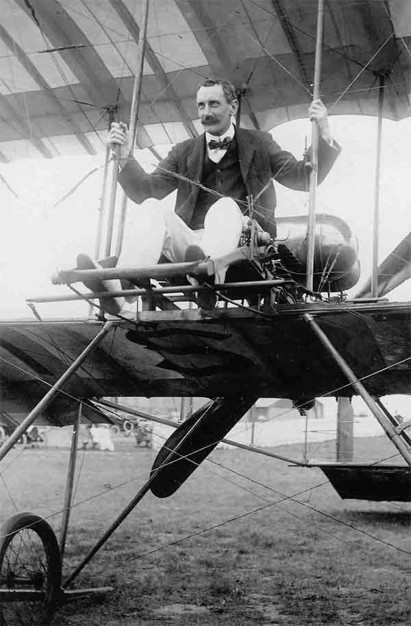 David Henderson seated on a Bristol Boxkite at Brooklands, 1911 (AC71/12/731)