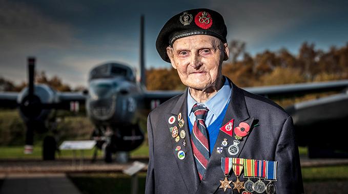 Les Cherrington, the oldest volunteer in the RAF Museum