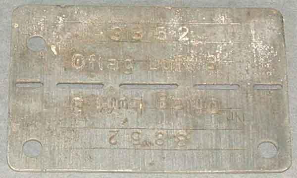 Flt Lt Chapman's Prisoner of War identity tag (80/U/1657)
