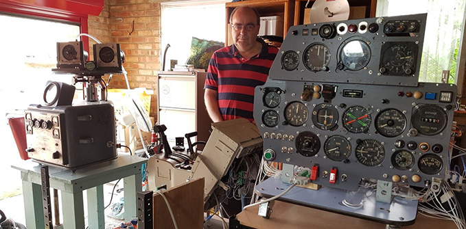 Gary with part of his collection: the Gyro Test Table can be seen on the left, while the instrument panel on the right is of a Hawker Hunter jet fighter. If you wish to contact Gary you can do so through email: garymorton38@hotmail.com