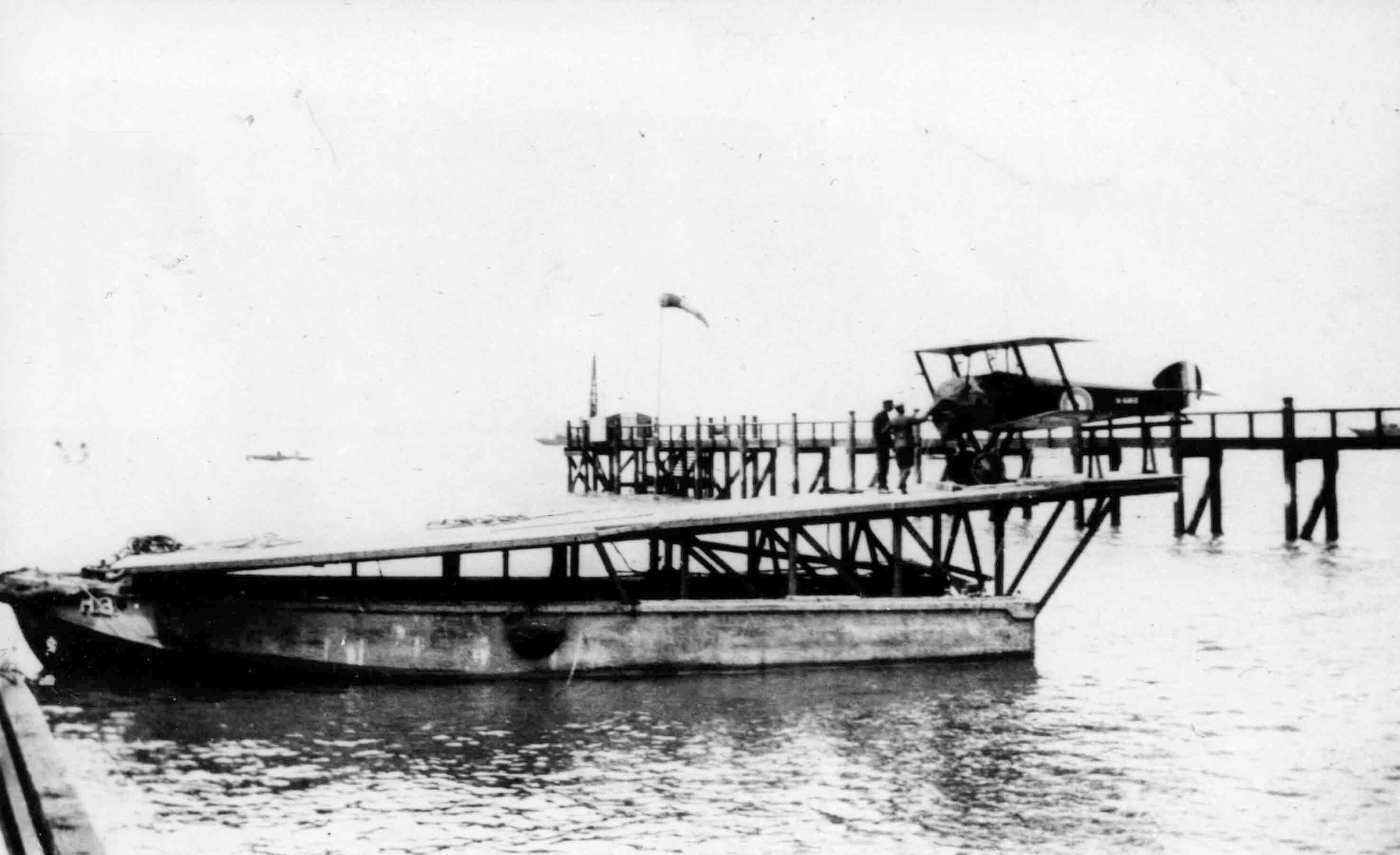 Sopwith 2F1 Camel on board a towed lighter fitted with a flying off platform, July 1918 (RAFM reference: X003-2602/15843)