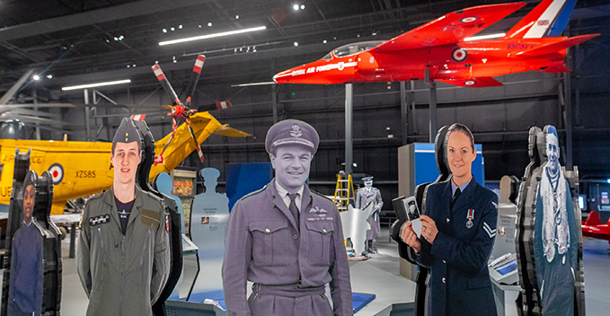 The silhouettes in 'RAF Stories: The First 100 Years: 1918 - 2018' exhibition at the RAF Museum London
