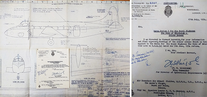 Taffy Higginson's proposed colour scheme drawings for the Duke of Edinburgh's Heron, 17 July 1954 and the letter from FW Higginson, Directorate of Operational Requirements, to EH Fielden for the Duke of Edinburgh's Heron's colour scheme, 17 July 1954
