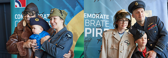 The photo booth with 100 years of the RAF uniform for the Armed Forces Day at the RAF Museum London