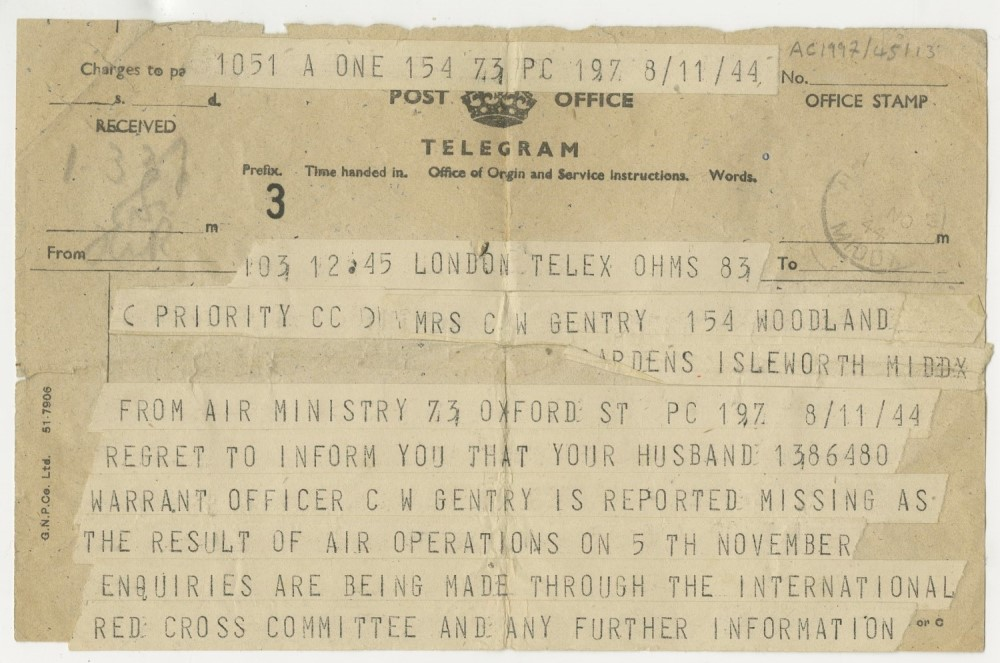 Telegram with message about a man who has gone missing whilst serving in the RAF. It's dated 8 August 1944.