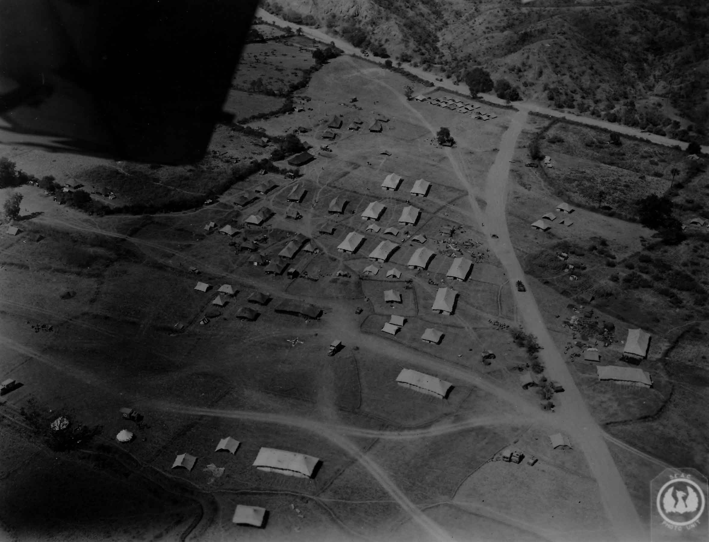 Aerial view of field hospital in Burma, 2 March 1945 (PC71/19/1551)