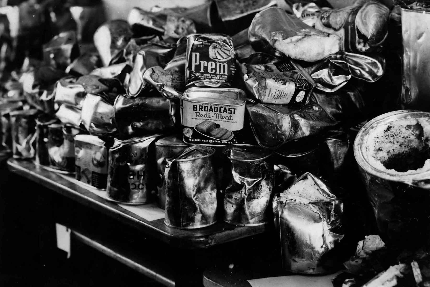 Tins of Spam after being dropped into Holland.
