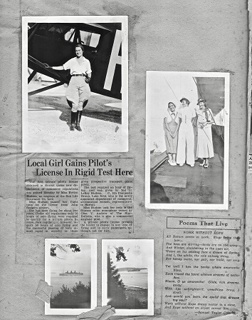 Page of newspaper cuttings showing Evelyn Hudson.