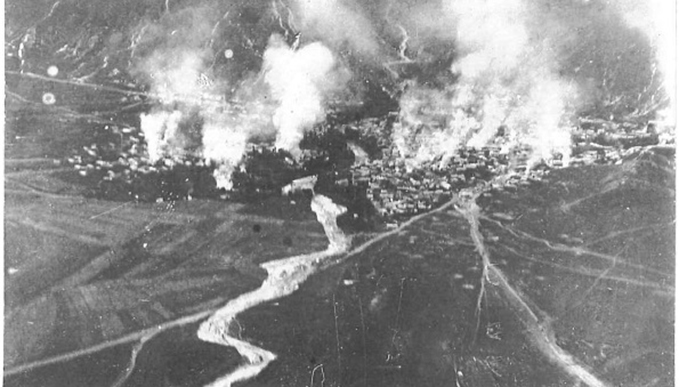 An attack on Astrakhan. A photograph from a beautiful album held at the RAF Archives