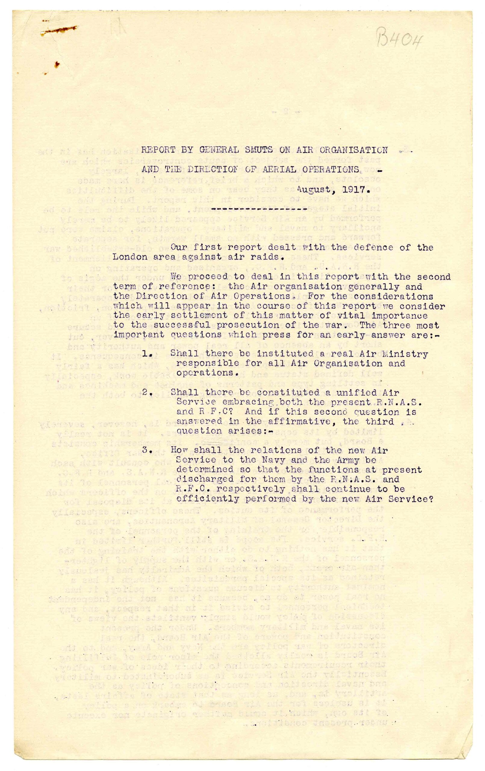 B404 Report by General Smuts on air organisation and the direction of aerial operations.