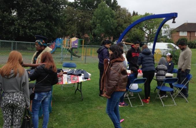 Volunteers helping members of the local community