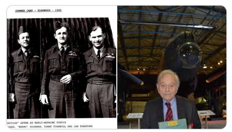 'Benny' Goodman as a young man far left and more recently in front of our Lancaster Bomber