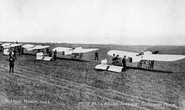 Bleriot XIs, serials 374, 375 and 323 on Salisbury Plain, RFC, probably 1914.