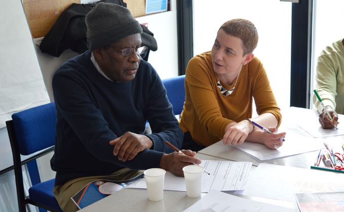 RAF Museum staff and local residents discussing ideas at the One Stop Shop in Colindale