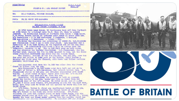 Picture of the combat report featured in the tweet, members of 303 squadron walking away from their aircraft and the Battle of Britain 80th anniversary logo.