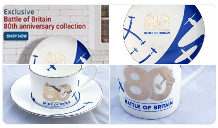 Imagery showing our Battle of Britain Fine Bone China, now available online and in our shops.