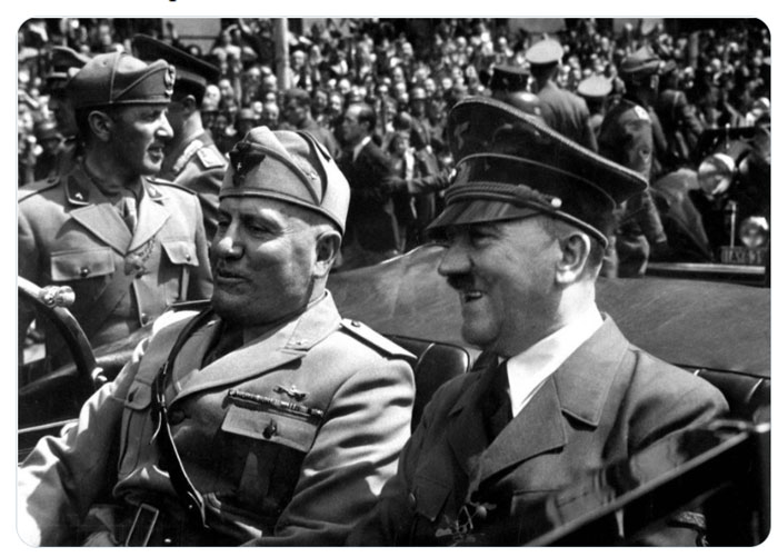Picture of Adolf Hitler and Benito Mussolini siiting down in an open top car