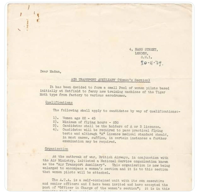 An invitation to join the Air Transport Auxiliary
